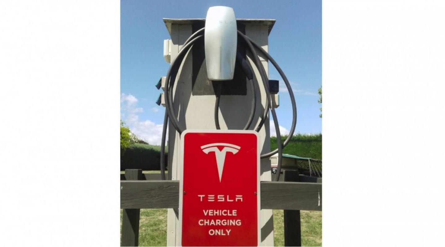 One of two Tesla chargers at Taupo DeBretts